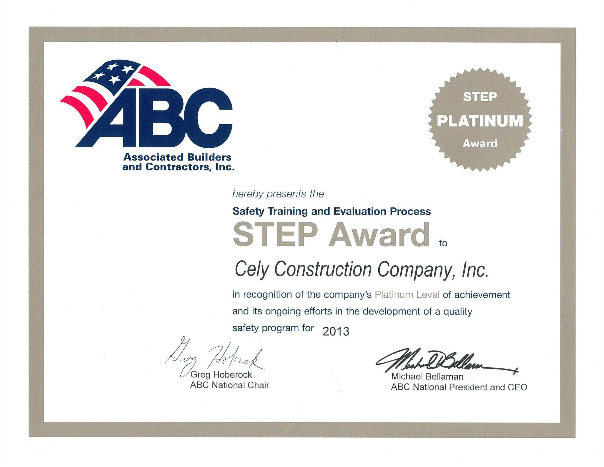 General Contractor - Associated Builders and Contractors, Inc. - Safety Training and Evaluation Process (STEP) Award 2013